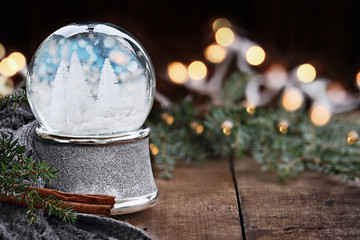 Silver Snow Globe with Miniature White Christmas Trees