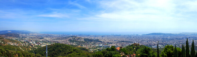 Panoramic view of resort town and beach. Blanes, Catalonia, Spain