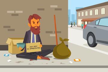 Homeless Panhandler on the Street