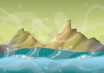 cartoon vector sea background with separated layers for game art and animation game design asset in 2d graphic