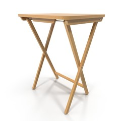 Folding wooden table on a white. 3D illustration