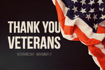 Veterans day background with text and USA flag Fototapete