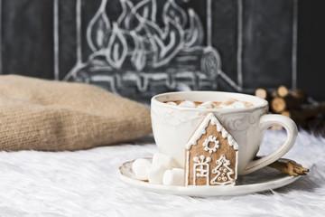 Kakao mit Marshmallow auf Fell mit Kamin Illustration