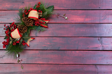 Rustic Christmas background on mahogany