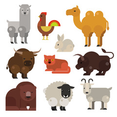Vector flat cute animals set.