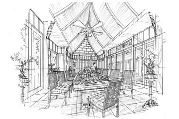 sketch stripes dining room , black and white interior design.