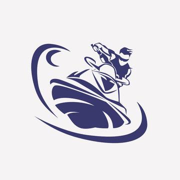 jet ski stylized vector symbol,  rider on jet ski silhouette, lo