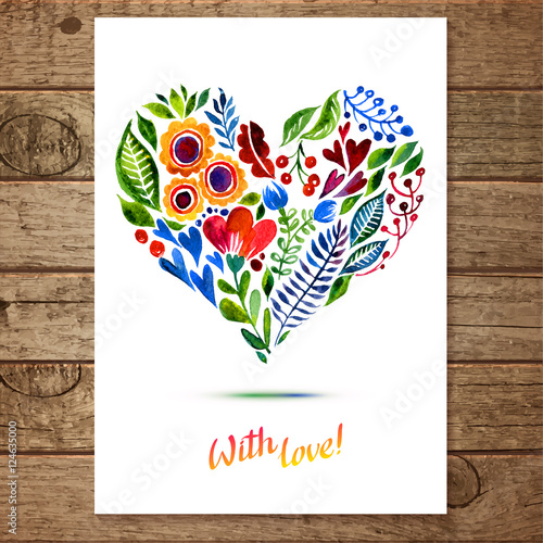 Vector illustration of flower heart frame multiolor for Architecture drawing 500 days of summer