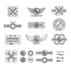 Set of drone and quadrocopter logo isolated on white background and drone element and equipment. Set of drone flying club labels, badges and design elements. Vector Illustration