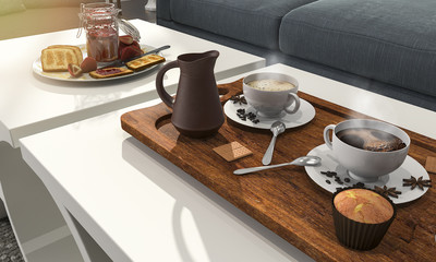3d rendering nice coffee set and pastry for breakfast on the table with sun glare