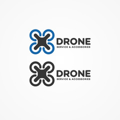 Set of drone and quadrocopter logo isolated on white background. Set of drone service and accessories labels, badges and design elements. Vector Illustration