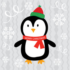 Christmas card with cute penguin design