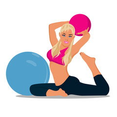 fitness woman and stability ball, Pilates, vector illustration