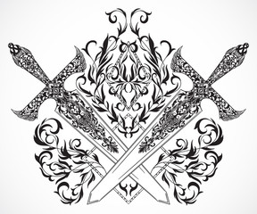 Crossed medieval swords with ornament. Tattoo art. Vintage hand drawn vector illustration