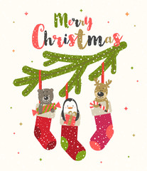 Christmas greeting vector illustration Cute little animals with gifts placed inside a Christmas stocking.