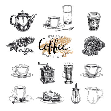 Vector hand drawn coffee set. Sketch