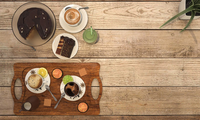 3d rendering coffee set with chocolate cake on wooden table