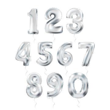 Metallic Silver Letter Balloons 123