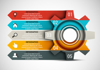 Gear and Arrow Element Business Infographic with Grayscale Icon Set