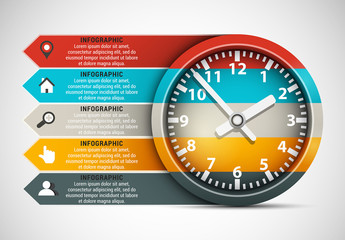 Clock and Arrow Element Business Infographic with Grayscale Icon Set
