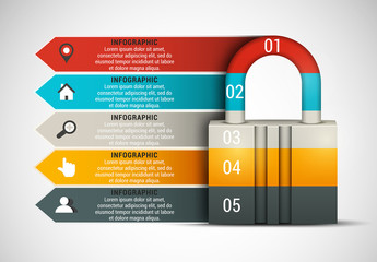 Lock and Arrow Element Business Infographic with Grayscale Icon Set