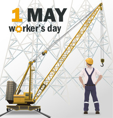 Worker's day white poster, industrial background