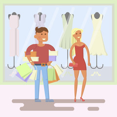 Style people, couple on shopping mall background. Vector illustration in the simple flat design.
