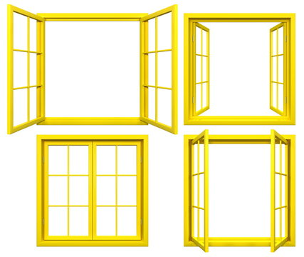 Collection of yellow window frames isolated on white