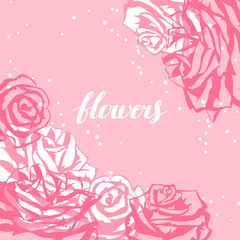 Card template with pink roses. Image for wedding invitations, romantic cards, posters