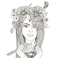 Girl with floral wreath on her head, holding a nest  bird and eggs.