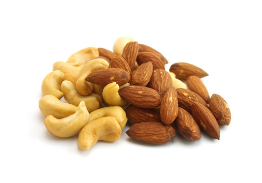 a pile of almonds and cashews