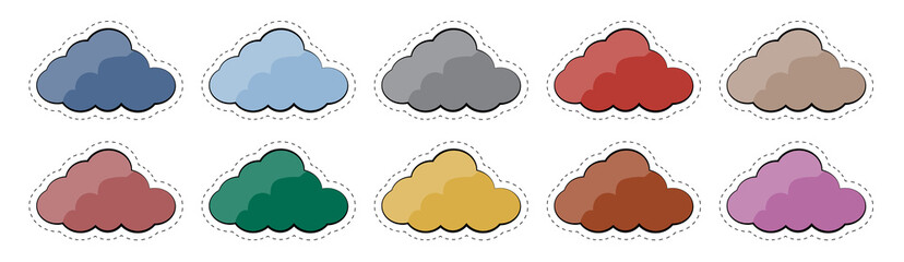 Vector set of stickers badges cloud of different colors 80s-90s comic style