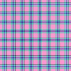 Pink and blue tartan texture seamless pattern