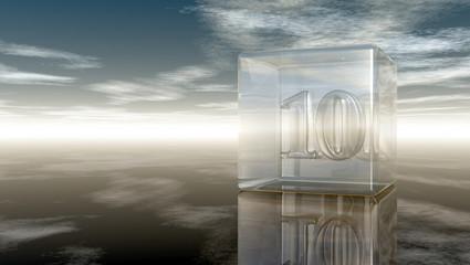die zahl zehn in glaswürfel unter wolkenhimmel - 3d illustration