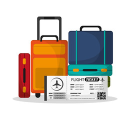 Baggage and ticket icon. Airport travel trip vacation and tourism theme. Colorful design. Vector illustration