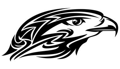 falcon head black and white vector design