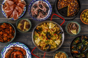 Typical spanish tapas concept, top view.