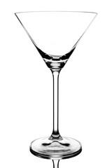 close up of cocktail glass isolated over white