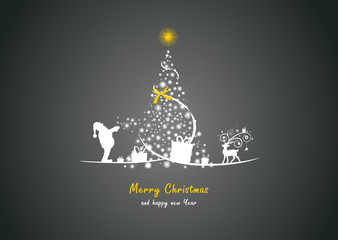 Weihnachtsbaum mit Weihnachtsmann und Elch