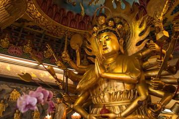 Golden buddha at Guandu Temple in Taipei, Taiwan