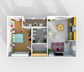 3d interior rendering of rectangular furnished home apartment