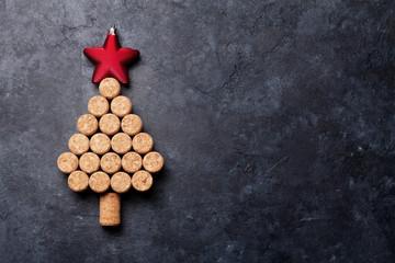 Wine corks shaped christmas tree