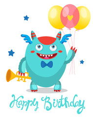 Cute Monster With Color Balloons. Cartoon Monster Vector Illustration. Funny Greeting Card. Birthday Theme. Monsters Universe.