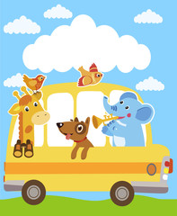 Giraffe, Elephant, Dog, Sparrow. Animals On The Yellow Bus. Funny Animals Party Card Design. School Bus Toy. School Bus Image.