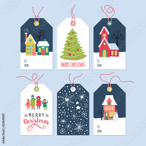 Christmas Present Drawings.Christmas Holiday Gift Tags Set With Hand Drawing Houses And