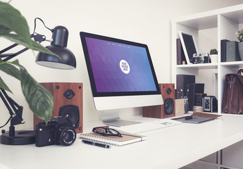 Desktop Computer on a Neat Desk with Gadgets Mockup 3