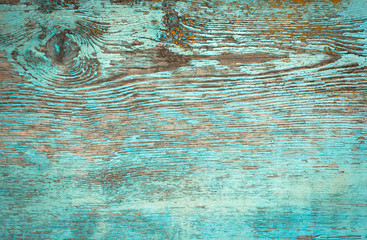 Old weathered plank painted in blue. Wall mural