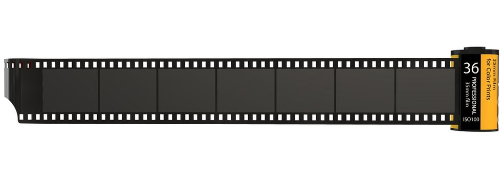 35mm camera photo film container isolated on white
