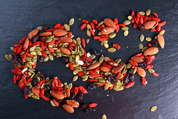 Nut mix snack with raisins, pumpkin seeds, almonds and goji berries on stone board