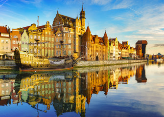 Aluminium Prints City on the water Cityscape of Gdansk in Poland